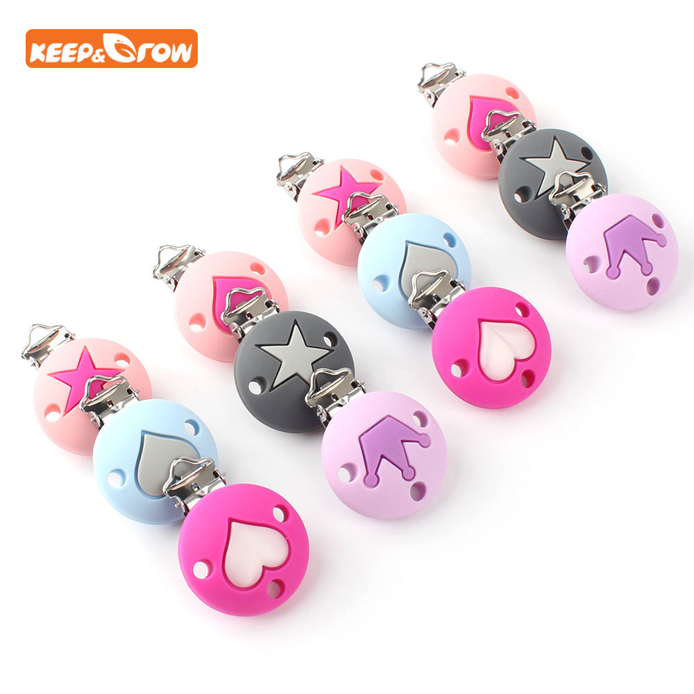 Keep&grow 3Pc Crown Heart Star Pattern Pacifier Clips Round Dummy Clips Silicone Pacifier Chain Holder Baby Teether Nipple Clasp