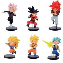 6pcs/1lot Anime Dragon Balls Z Super Saiyan Pink Hair Goku Vegeta 8-10cm Action Figures Toys Brinquedo Toy Boy Christmas Gift(China)