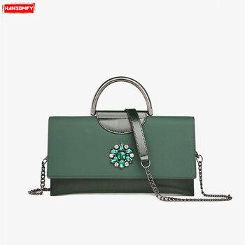New Rushed Luxury Diamonds Women's Bag Large Capacity Female Chain Shoulder Messenger Genuine Leather Rhinestone Mini Handbags
