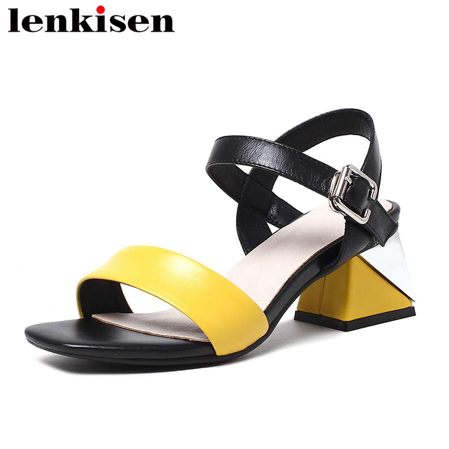 Lenkisen mixed colors retro Korean girl square peep toe buckle strap med thick heels runway women natural leather sandals L8f4 2017 superstar cow leather platform european ankle strap peep toe print mixed colors classic women increased runway sandals 0 4