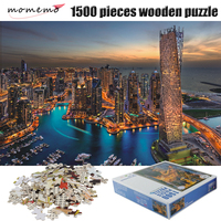 MOMEMO Wooden Adult 1500 Pieces Puzzle Dubai Night Landscape Puzzles 1500 Pieces Jigsaw Puzzle Assembling Toys for Children Gift