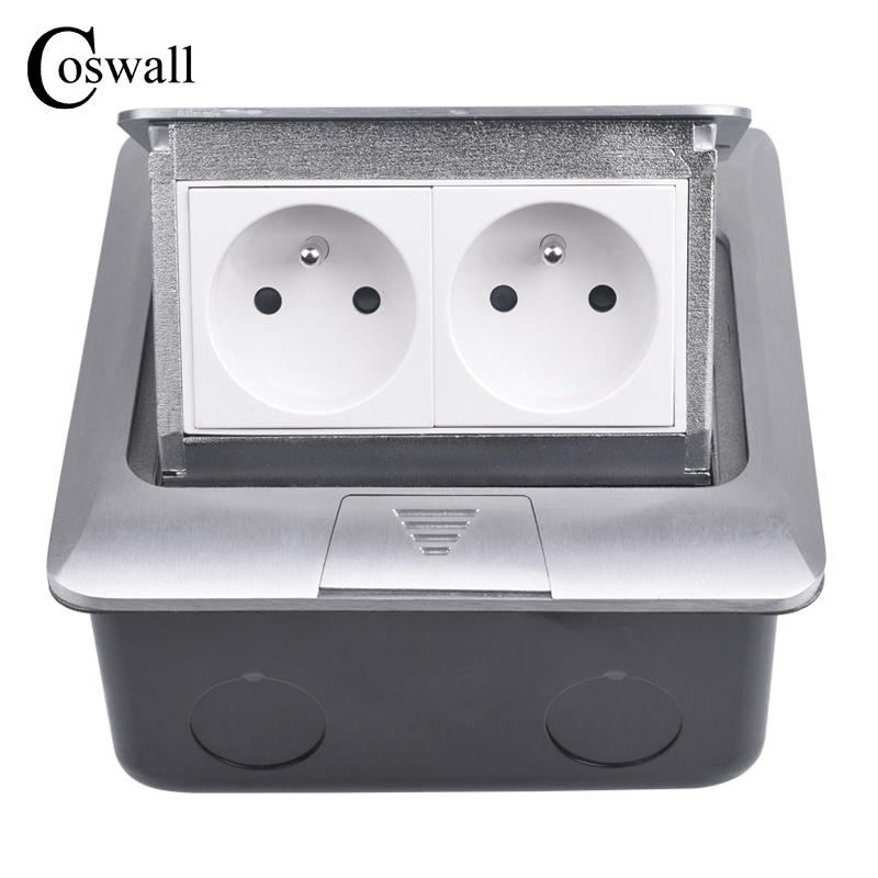 COSWALL All Aluminum Silver Panel French Standard Pop Up Double Floor Socket 2 Way Electrical Outlet