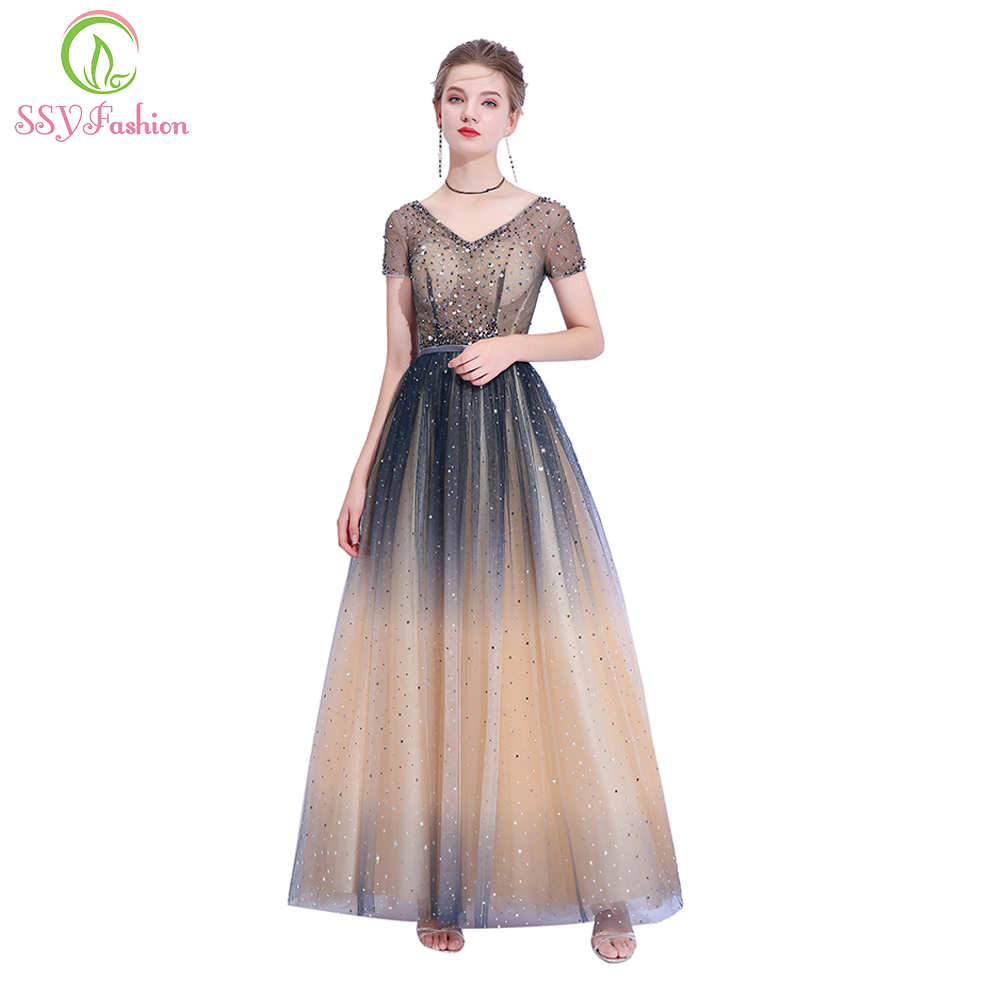 SSYFashion New Banquet Luxury Evening Dress Short Sleeved V-neck Gradient Color Sequined Beading Prom Party Gown Robe De Soiree