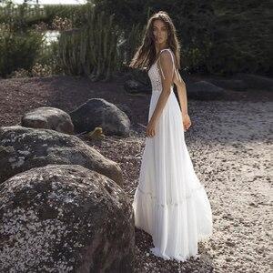 Image 2 - Verngo 스파게티 스트랩 웨딩 드레스 Boho 클래식 v 목 신부 드레스 층 길이 비치 웨딩 드레스 Abito Da Sposa
