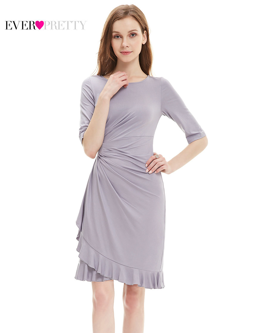 [Clearance Sale] Ever-Pretty Women Elegant   Cocktail     Dress   Simple Chiffon A Line Half Sleeve Sexy Ruffle Party   Cocktail     Dress