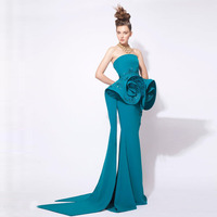 2018 Teal Fashion Mermaid Prom Gowns Arabic Middle Eastern Evening Gowns Strapless Peplum Beaded Stunning Formal Party Dress