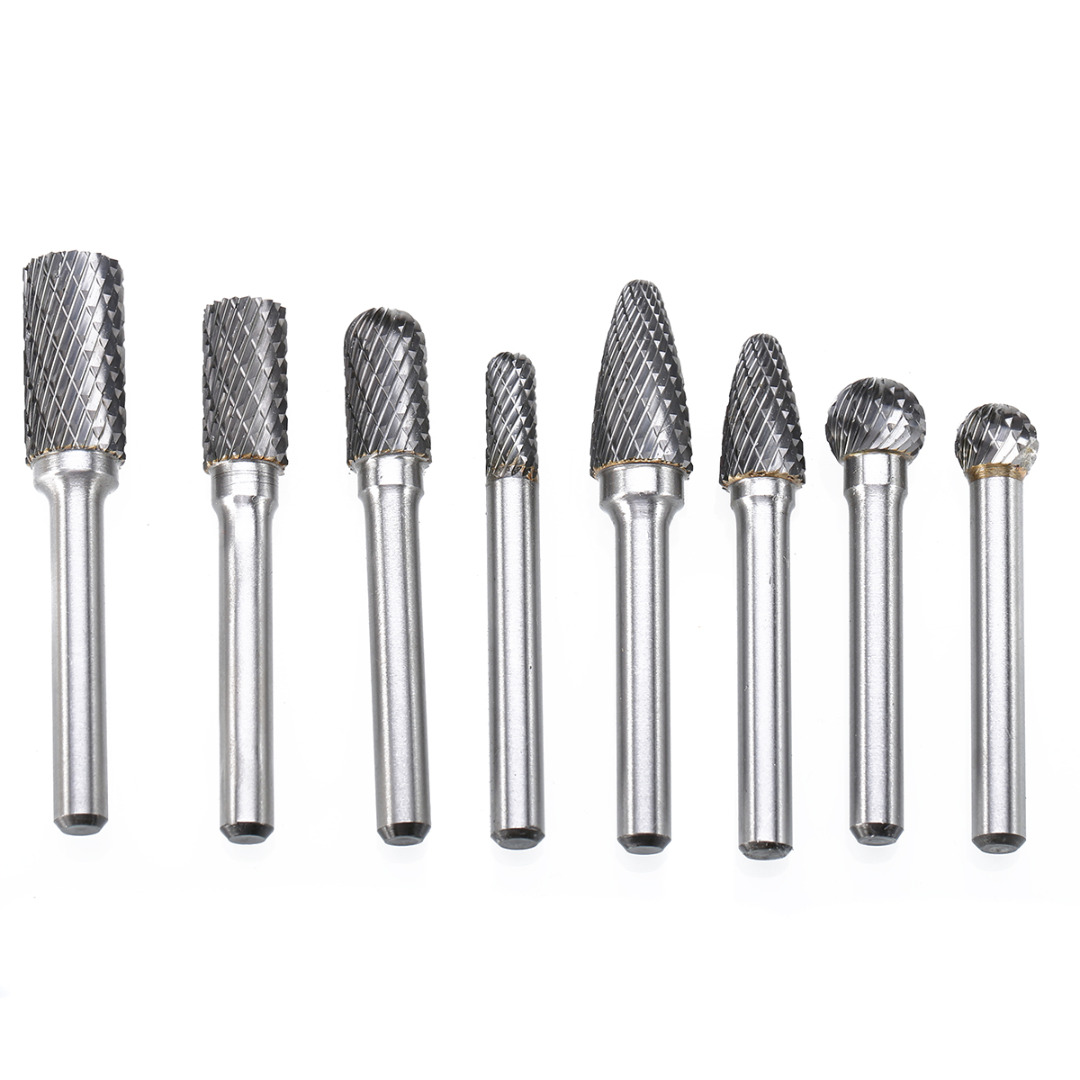 8Pcs 1/4'' Shank Tungsten Carbide Milling Cutter Rotary Tools Burr Double Diamond Cut Rotary Tools Electric Grinding Mayitr tungsten steel tip 6mm carbide burr 6mm shank single cut 1pcs free shipping
