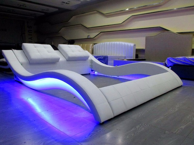 led remote control audio contemporary modern leather sleeping bed