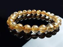 9mm Natural Brazil Gold Rutilated Quartz Crystal Titanium Gemstone Woman Man Gemstone Round Beads Bracelet Jewelry Bangle AAAA недорого