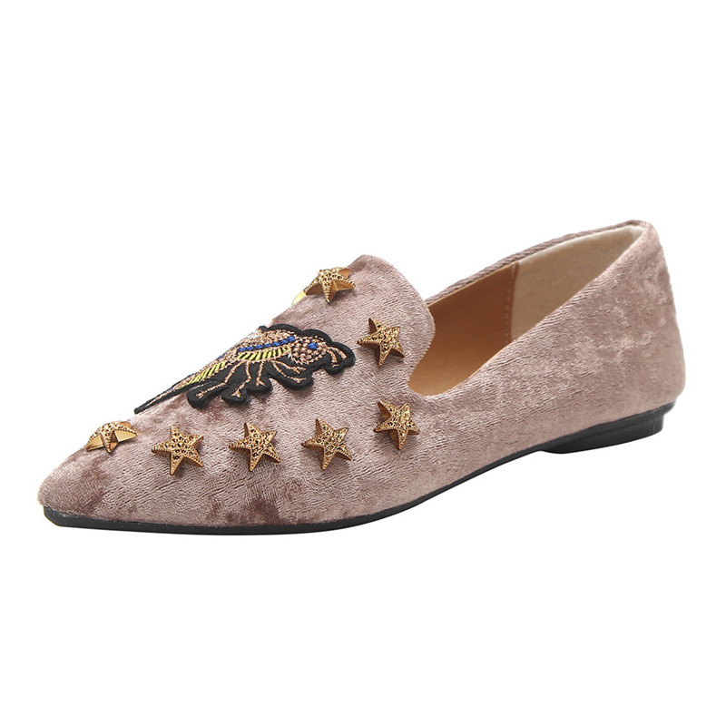 Summer Women Flats Ladies Animal Embroidery Suede Ankle Shoes Soft Slip-On Casual Shoes Pointed Toe Breathable low heels Shoes spring summer women leather flat shoes 2017 sweet bowtie flats women shoes pointed toe slip on ladies shoes low heel shoes pink