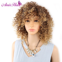 Amir Short  Afro Kinky Curly Wig for Black Women Synthetic Wigs Blonde And Brown  Fake hair cosplay High Temperature