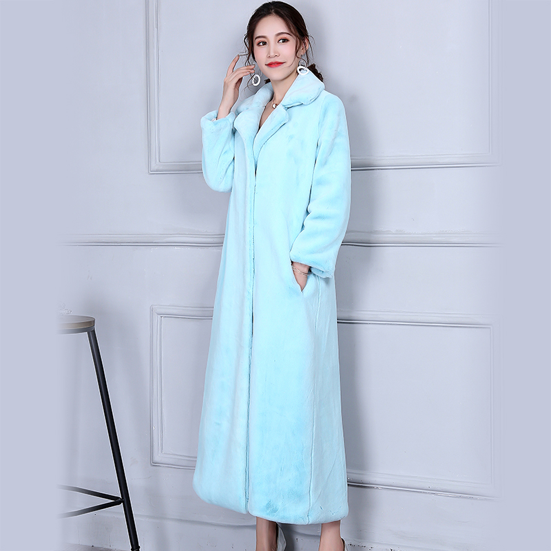 Nerazzurri удлиненное зимнее пальто для женщин Элегантный Теплый синий цвет Duster верхняя одежда женский плюс размеры искусственный мех 5XL 6XL 7XL