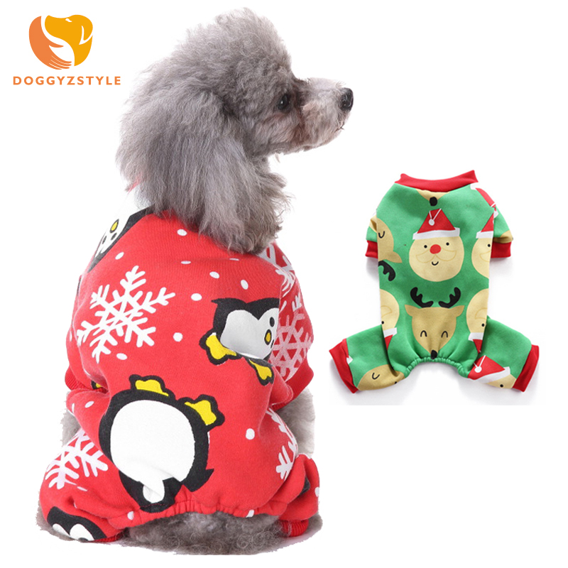 Winter Dog Clothes Puppy Jumpsuits Warm Pets Overalls for Chihuahua Clothing Soft Dogs Christmas Pajamas Costumes DOGGYZSTYLE