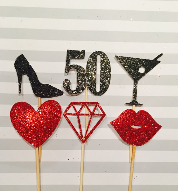 CUSTOM Number Glitter Mix Styles 50th Birthday Cupcake Toppers Baby Bridal Shower Wedding Party Cake Decorations Food Picks