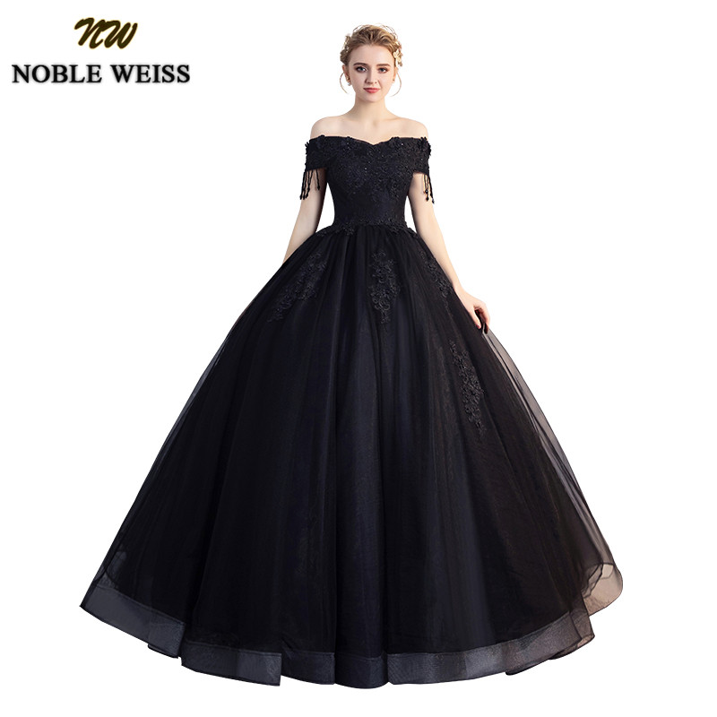 NOBLE WEISS Black Ball Gown Quinceanera Dresses 2019 Beading Off Shoulder Sweet 16 Dress Long Floor