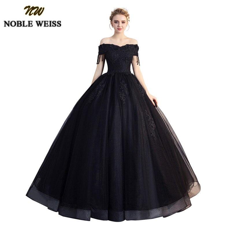 c9b8d00bd8 Comprar NOBLE WEISS negro vestido de Quinceanera Vestidos 2018 cordón  hombro dulce 16 vestido piso longitud Vestidos de 15 anos Online Baratos .