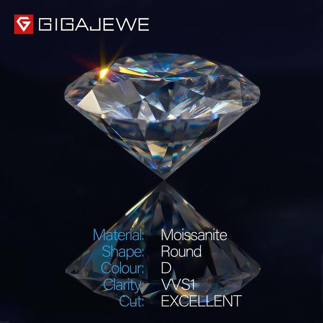 Gigajewe real d cor 1-3ct redondo moissanite qualidade superior teste de diamante solto passou gem diy para fazer jóias 2