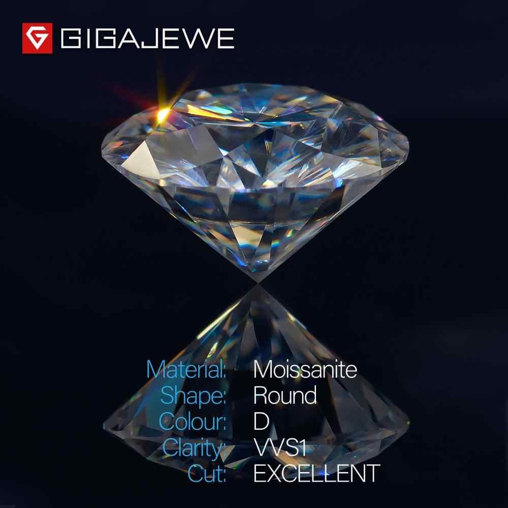 GIGAJEWE D สี 1-3ct VVS1 รอบ Moissanite Diamond ผ่านการทดสอบ TOP คุณภาพใบรับรอง Lab อัญมณีสำหรับเครื่องประดับทำ