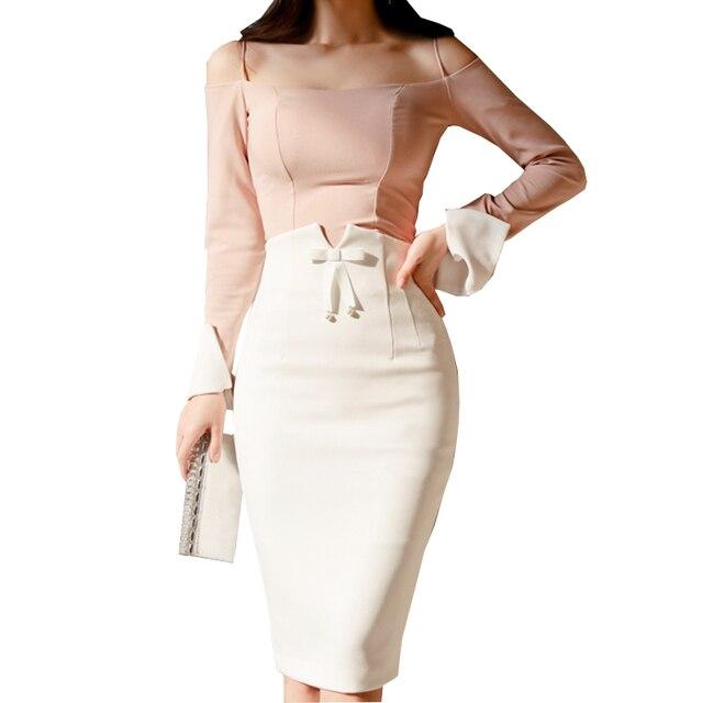 124854d2a8 2018 Autumn Skirts Women Vintage Bowtie High Waist Bodycon Skirt Women Sexy White  Knee Length Skirts Saia Faldas