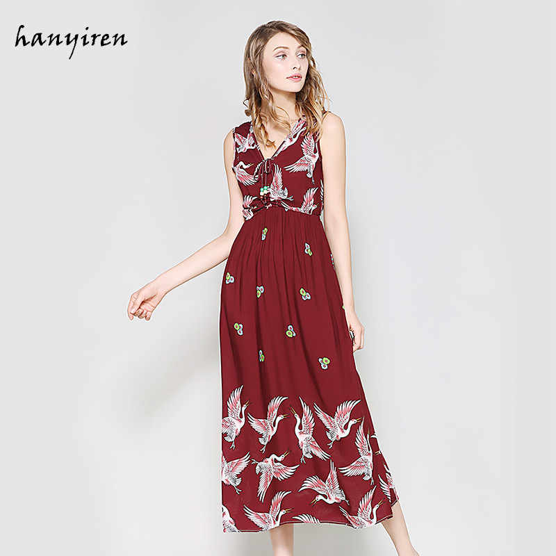 Hanyiren sexy elegante floral impressão sem mangas maxi vestido longo com decote em v moda vestido de verão feminino magro bohimian praia vestidos