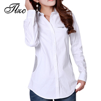 New Arrival Women Cotton White Shirts Tops Size M 2XL Autumn Spring Fashion Design Lady Casual