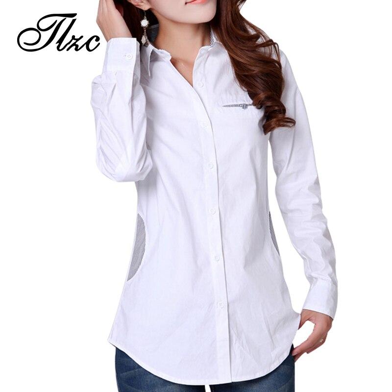 Nueva llegada de las mujeres de algodón blanco camisetas tops tamaño m-2xl otoño