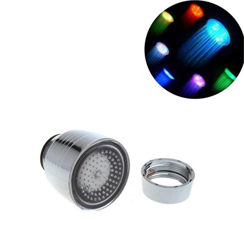 Rgb Светодиодный водопроводный кран света 7 цветов Изменение душ свечение потока Нажмите аэратор