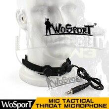 WoSporT Tactical Throat Microphone Headset PTT Portable Radio Mic Neckband for Walkie Talkie Helmet Communication