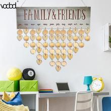 2018 NEW DIY Wooden Hanging Calendar Family Friends Birthday Reminder Board Specil Date Planner Sign Calendario Decoration HOT