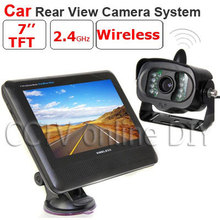2.4GHz 7 inch TFT LCD Monitor Wireless Car Rear View system With a Weatherproof 15LEDs IR Night Vision Parking Reversing Camera 7 inch wireless car monitor tft lcd display screen with 18 led night vision rear view reverse parking camera for truck 24v