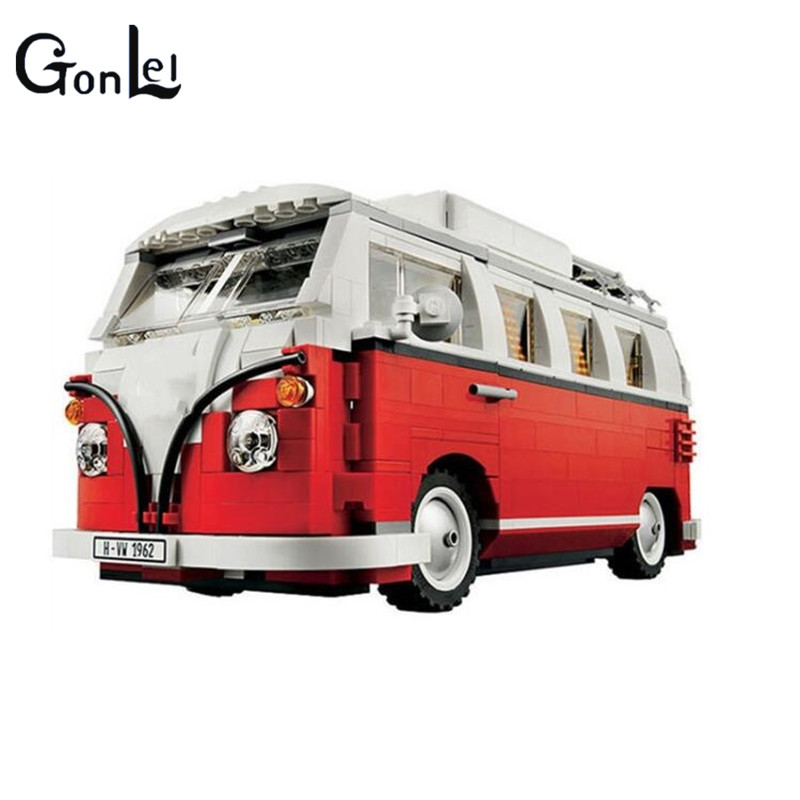 (GonLeI)1354Pcs 2017 New 21001 Volkswagen T1 Camper Van Model Building Kits Bricks Toys Compatible with Andiran Technic Car lepin 21001 creator volkswagen t1 camper van building block compatible legoe 1352pcs educational toys for children