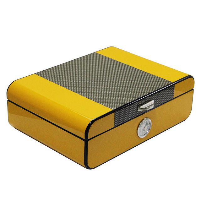 Yellow Cedar Wood Cigar Humidor with Cigar Hygrometer Humidifier