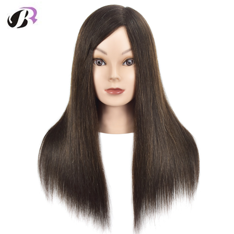 18 Brown Hair Dummy Head Wig Hairdressing Head For Hairstyles Professional Cosmetology Mannequin Training Head With Human Hair graceful short side bang fluffy natural wavy capless human hair wig for women