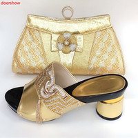 doershow gold Shoe with Matching Bags Shoe and Bag Set for Party In Women Italian Matching Shoe and Bag Set with stones!!HBJ1 7