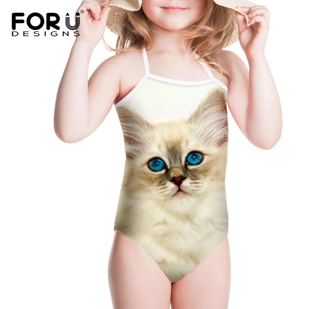 2018 Girls One Piece Swimwear Kids Swim Wear Swimsuit 3D Cute Cats Bathing Suit for Baby Summer Bikini One-piece Suits Beach forudesigns one piece swimsuit for girls children swimwear friuts strawberry printing bathing suit baby bikinis kids swim suits