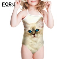 2016 Girl One Piece Baby Swimwear Kids Girls Swim Wear Swimsuit Cats Print Monkey Style Flower