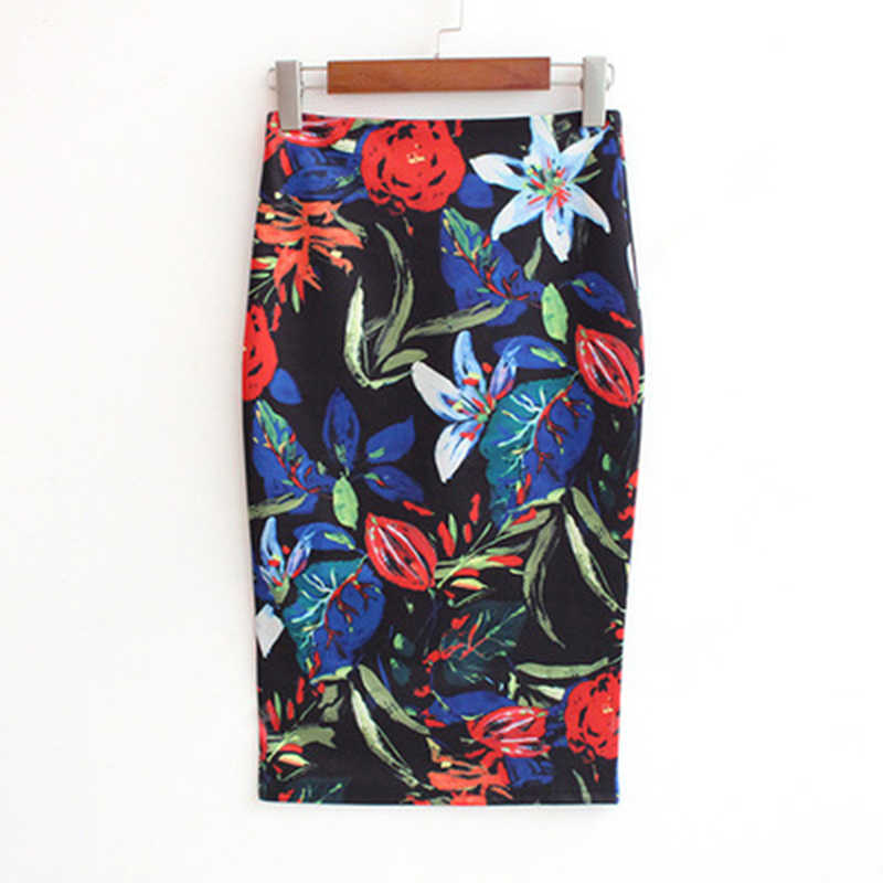 2018 Summer Style New Fashion Pencil Skirt Women High Waist Mid Skirts Vintage Elegant Bodycon Floral Print Midi Skirt Female
