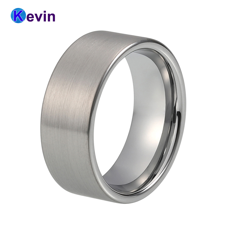Tungsten Carbide Ring For Men Simple Wedding Ring Flat Band 8MM