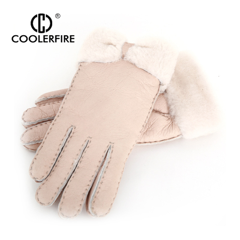 COOLERFIRE Women Glores Wool Genuine Leather Sheepskin Glores Lorely Warm Female Winter Mittens  GAL001