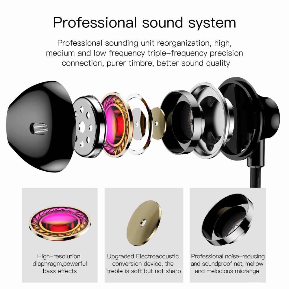 Baseus douszne słuchawki Stereo Bass słuchawki H06 3.5mm jack sterowanie przewodowe HiFi słuchawki douszne zestaw słuchawkowy do iPhone'a Xiaomi telefon komórkowy