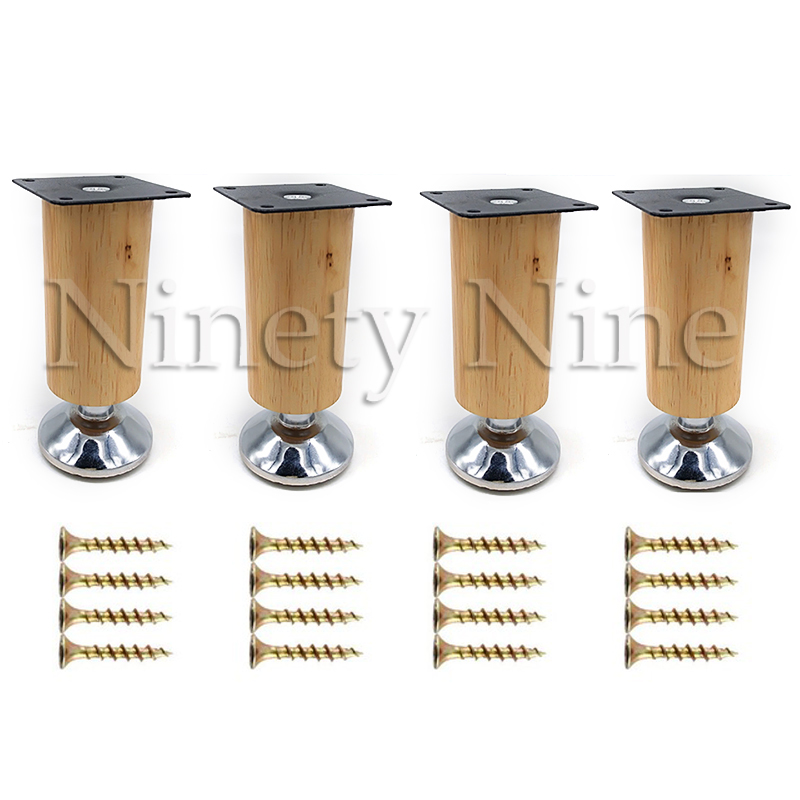 4Pcs 100/120/150/180/200/250/300mm Height Wooden Furniture Cabinet Leg Cabinet Adjustable Feet Metal  Sofa Bed Foot Legs Support