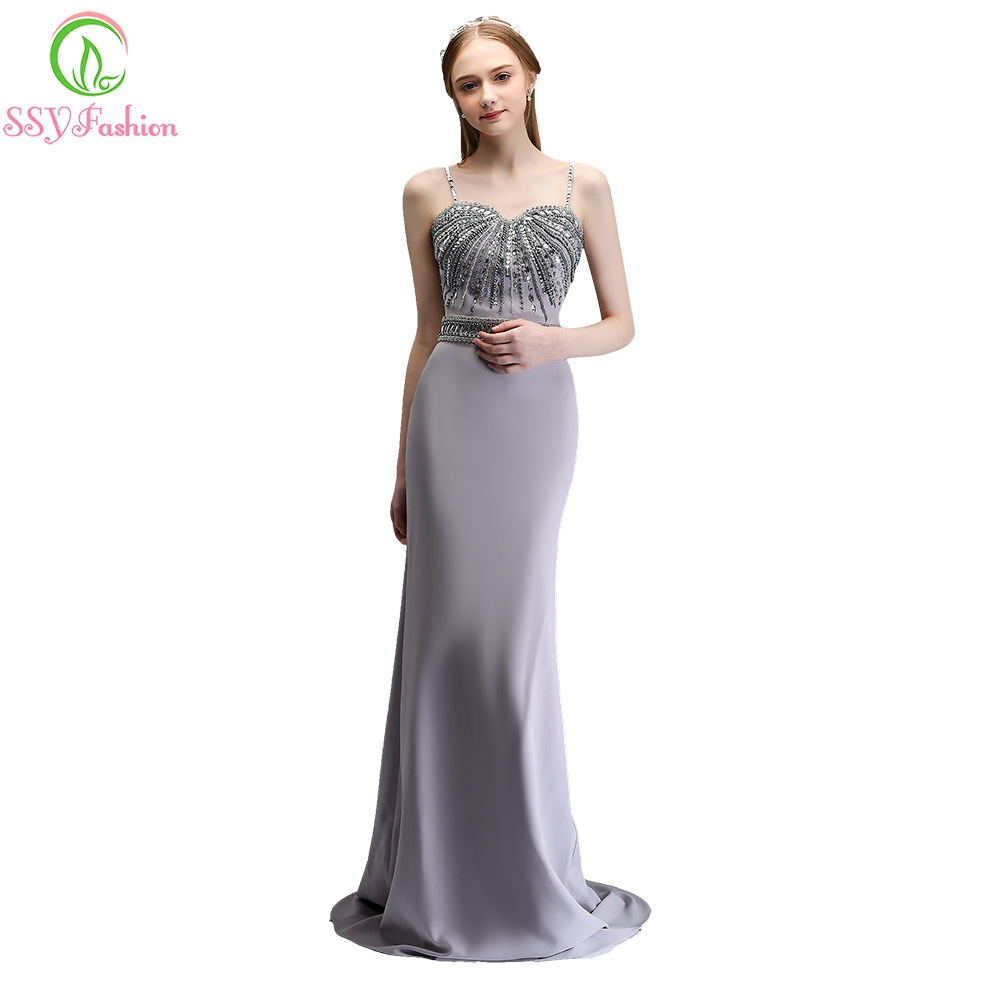 SSYFashion New High-end Mermaid Evening Dress Simple Strap Grey Stretch  Satin Beading Sexy Fishtail Prom Party Formal Dresses b7edb7a53559