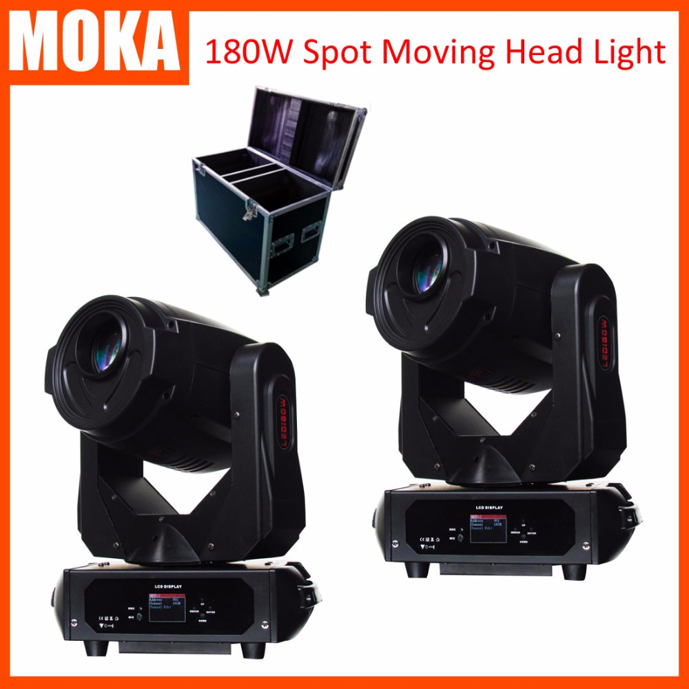 2 Pcs/lot Flight Case Packing 180w High Power Led Spot moving head light dmx 17CH led gobo effect stage light for DJ Disco flight fps 17