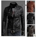 Hot! Free Shipping  New Men's Leather Jacket Korean Catwalks Shall Slim Leather Jacket Pu High Quality 3 Color Sizem-xxl