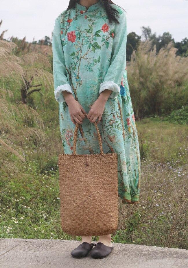 Retro Rana botones soporte Collar flor árbol pájaro puro ramio vestido de lino, bata estilo chino clásico primavera otoño alta calidad-in Vestidos from Ropa de mujer    1