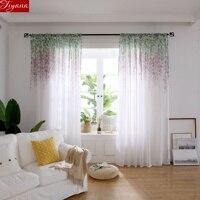 Purpe цветочный занавес для гостиная экран окна Белый Sheer ткани шторы Синий Тюль Кортина лечения X536 #30