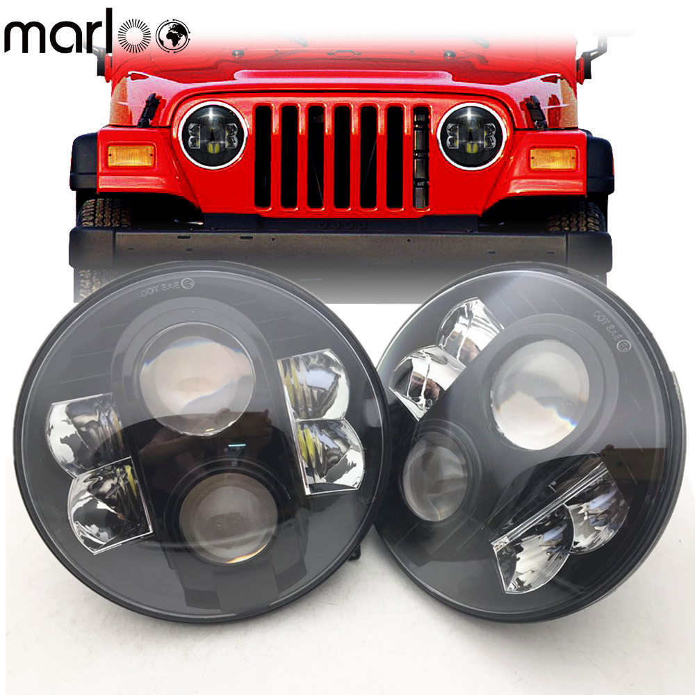 Marloo 2X 7 Inch 80W H4 LED Headlights For Wrangler 7 Round Headlamp For Lada 4x4