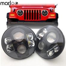 Marloo 2X7 Inch 80 W H4 светодиодный фары для Wrangler 7 «круглая фара для Lada 4×4 Urban Нива Land Rover 90/110 защитник
