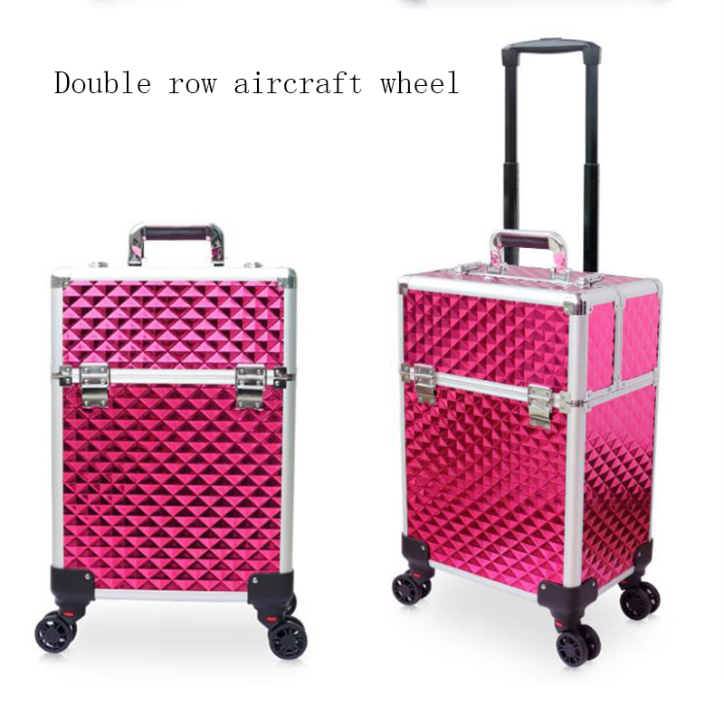 Portable Professional Trolley Cosmetic case Bag Suitcase For Makeup with wheels Large Capacity Women Box Nails Beauty Luggage