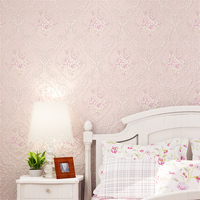European Style 3D Floral Wallpaper Rustic Bedroom Background Wallpapers Non Woven Flower 3D Wall Paper Roll